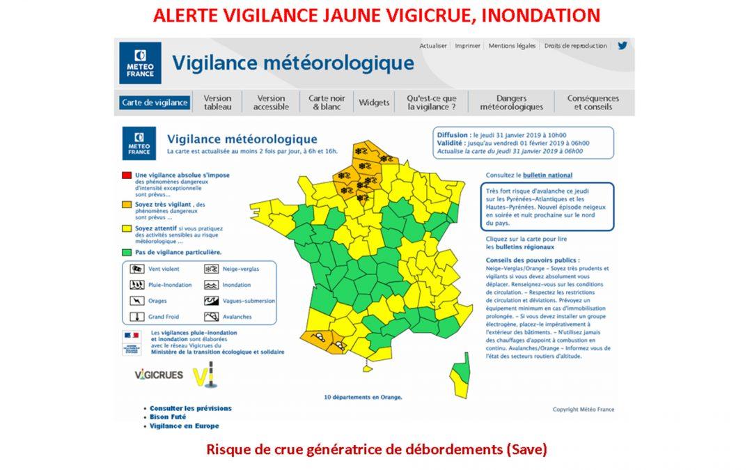 #Alerte vigilance jaune pour la Save: Vigicrue, Innondation