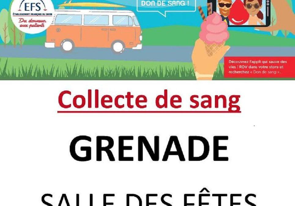 #Collecte de sang à Grenade les 22 et 23 juillet 2019