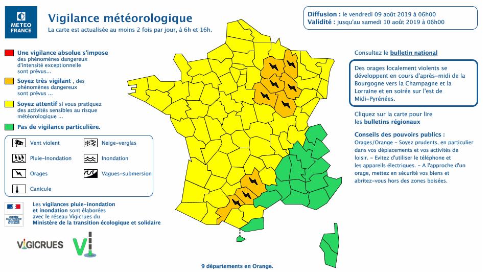 #Alerte orange orages / vents violents