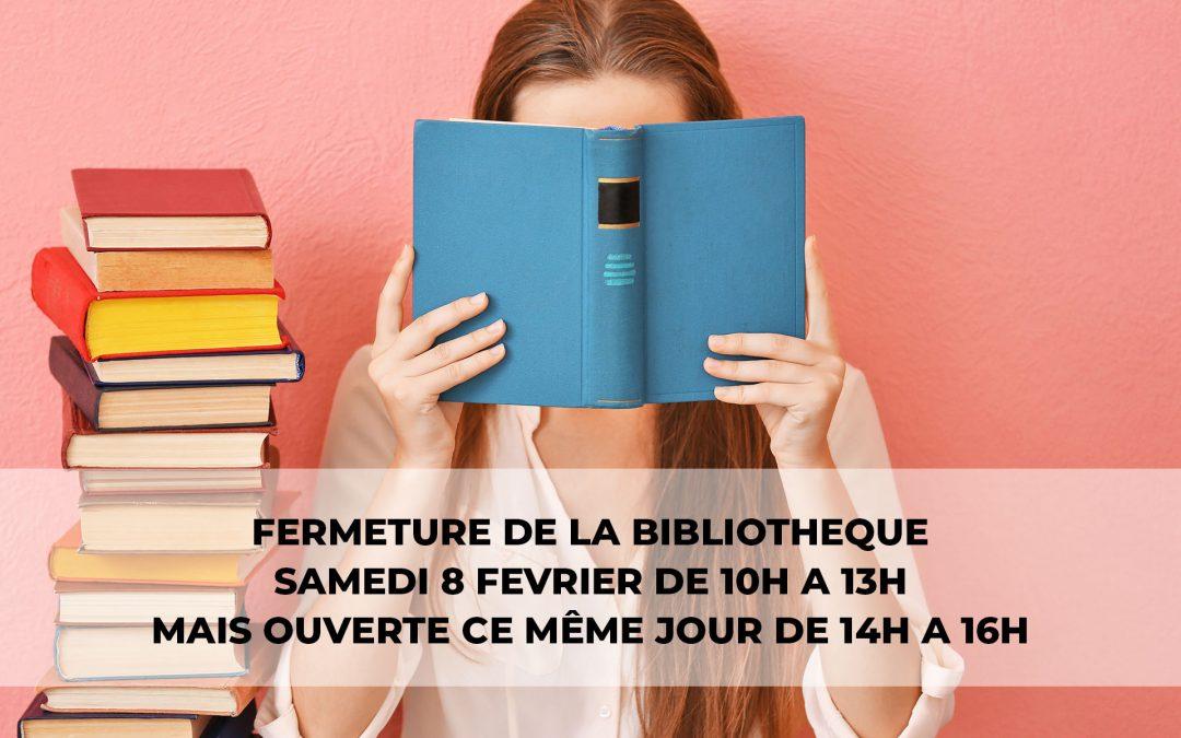#Bibliothèque – changement d'horaires d'ouverture