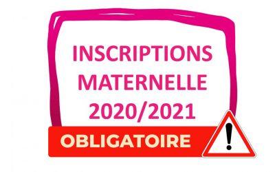 #Inscriptions maternelle 2020/2021